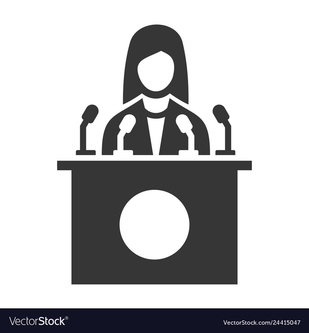 Public speaker icon on white background