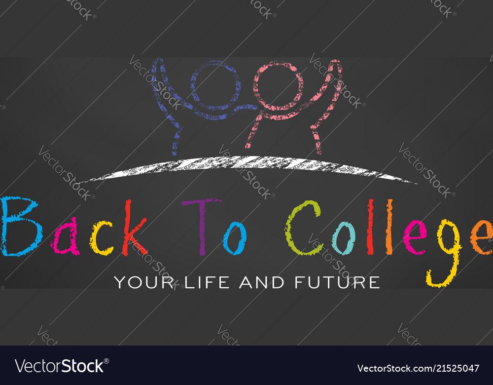 School students in chalk black board back to