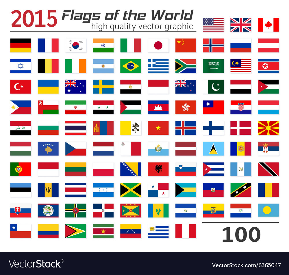 Set of flags of different countries