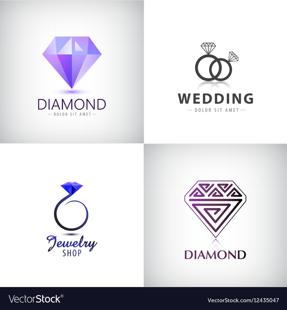 Set of jewellery logos Ring wedding vector image