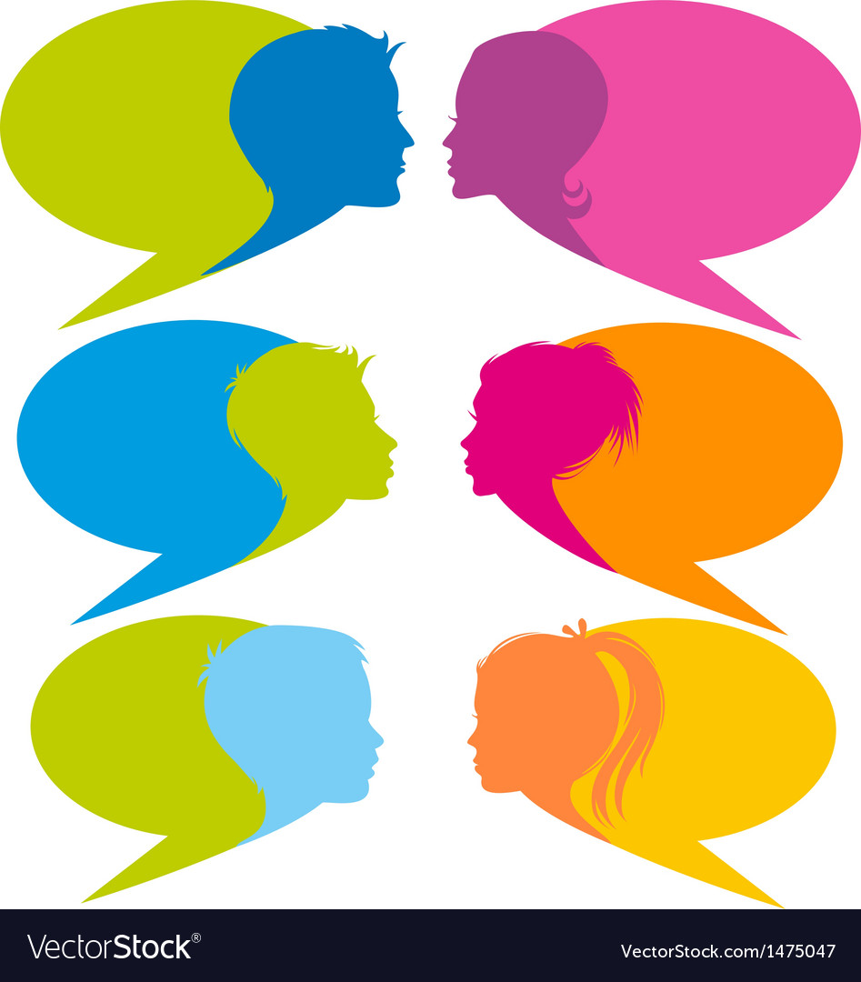 Speech bubbles with faces vector image