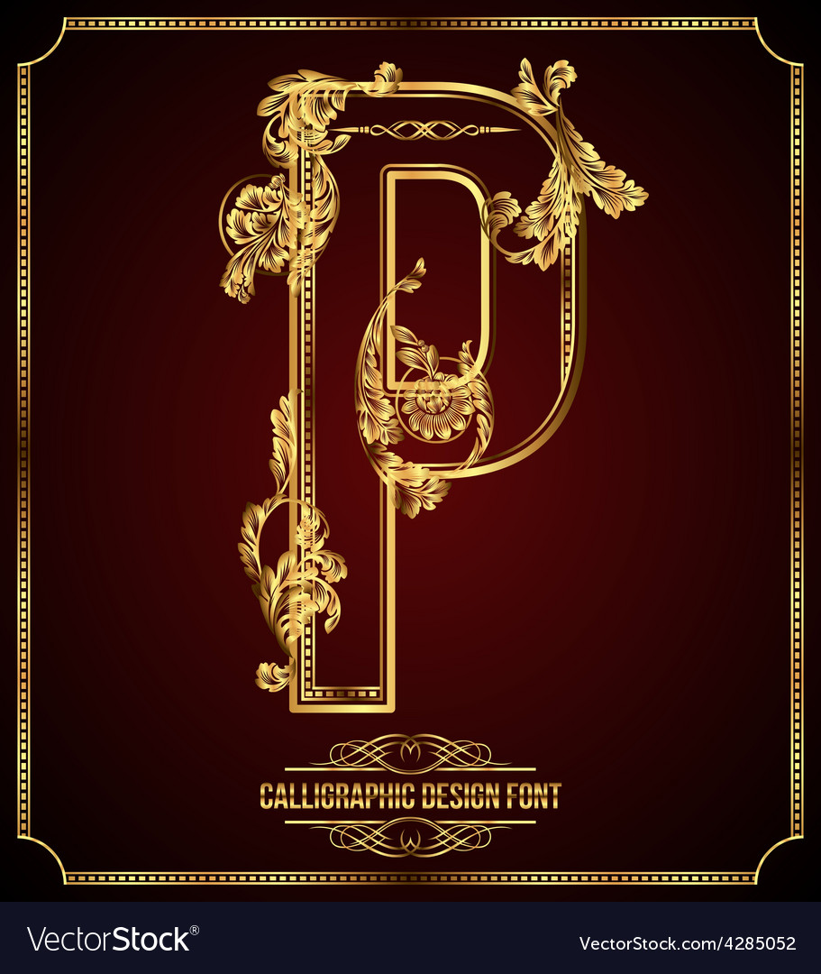 Calligraphic font Letter P vector image