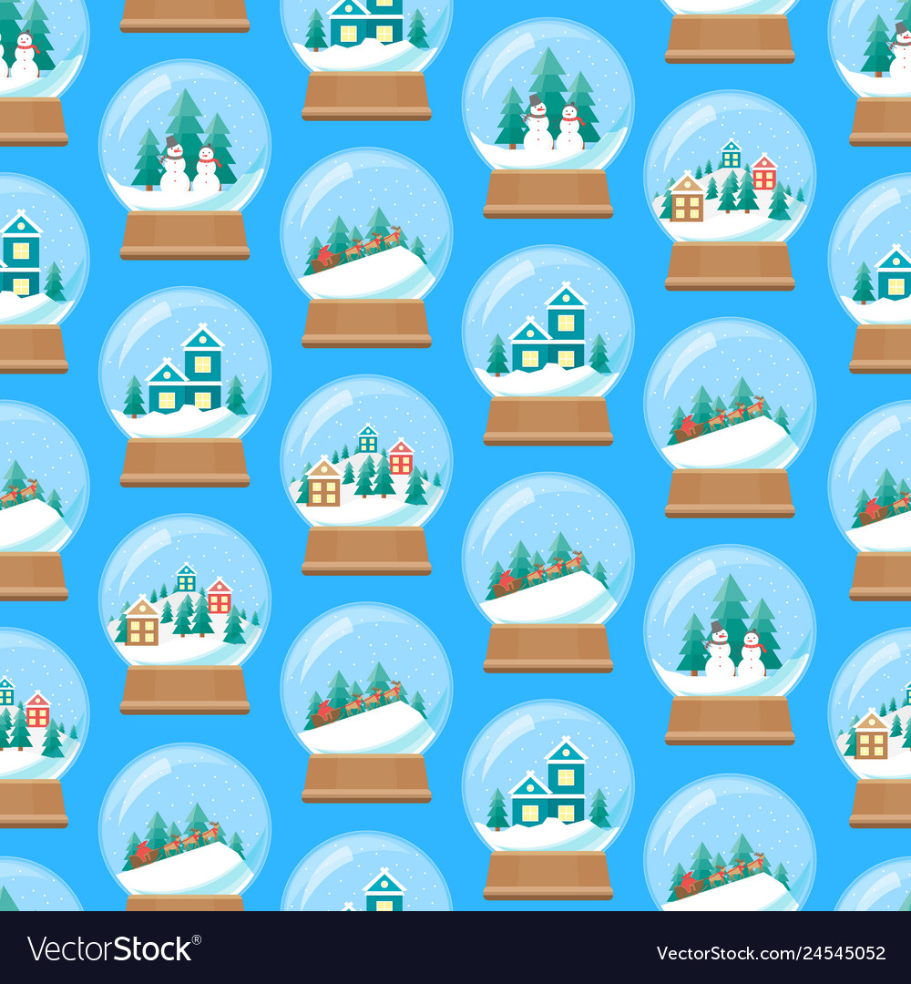 Cartoon snow globe seamless pattern background