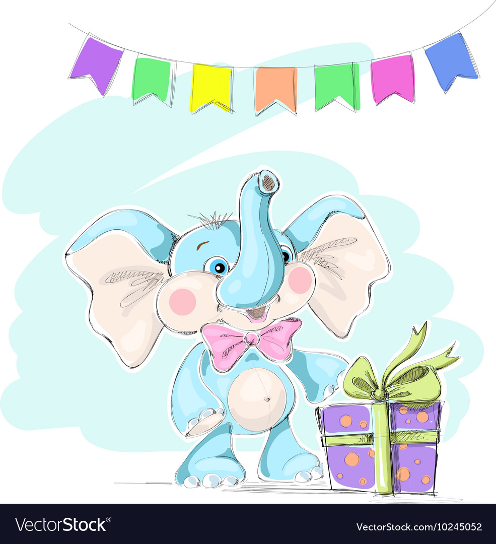 Cute and funny baby elephant with a gift and flags