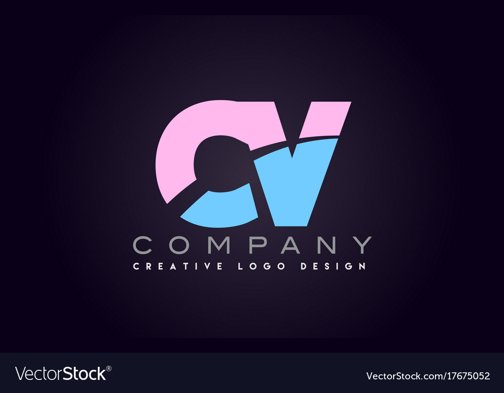 Cv Alphabet Letter Join Joined Logo Design Vector Image