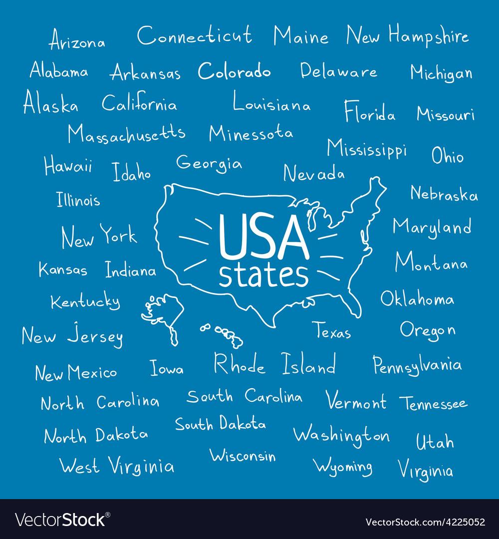 Handwritten USA states vector image