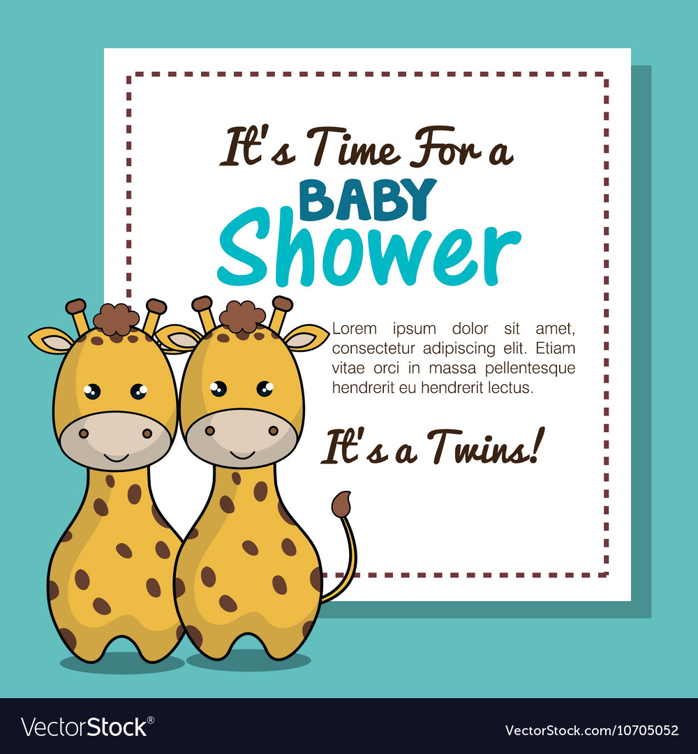 Invitation baby shower twins boy giraffe design