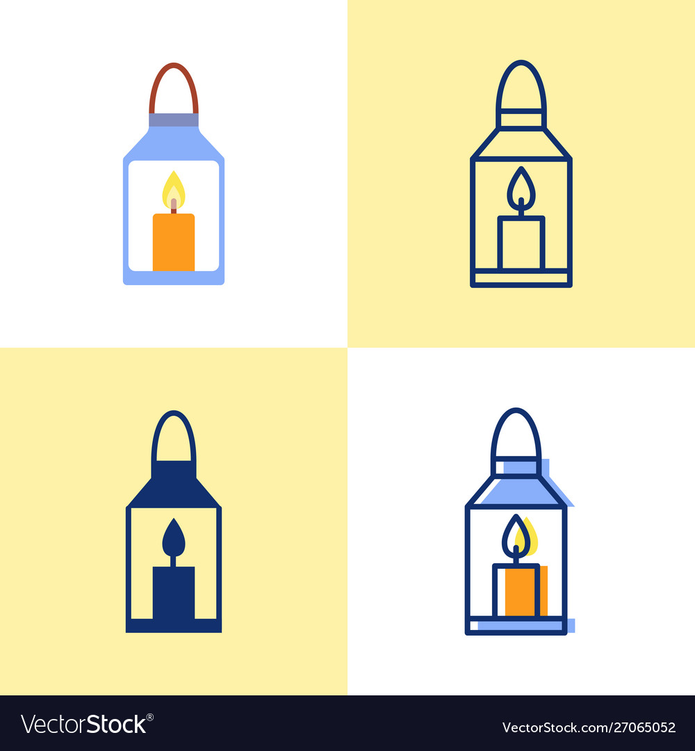 Lantern with burning candle icon set in flat and