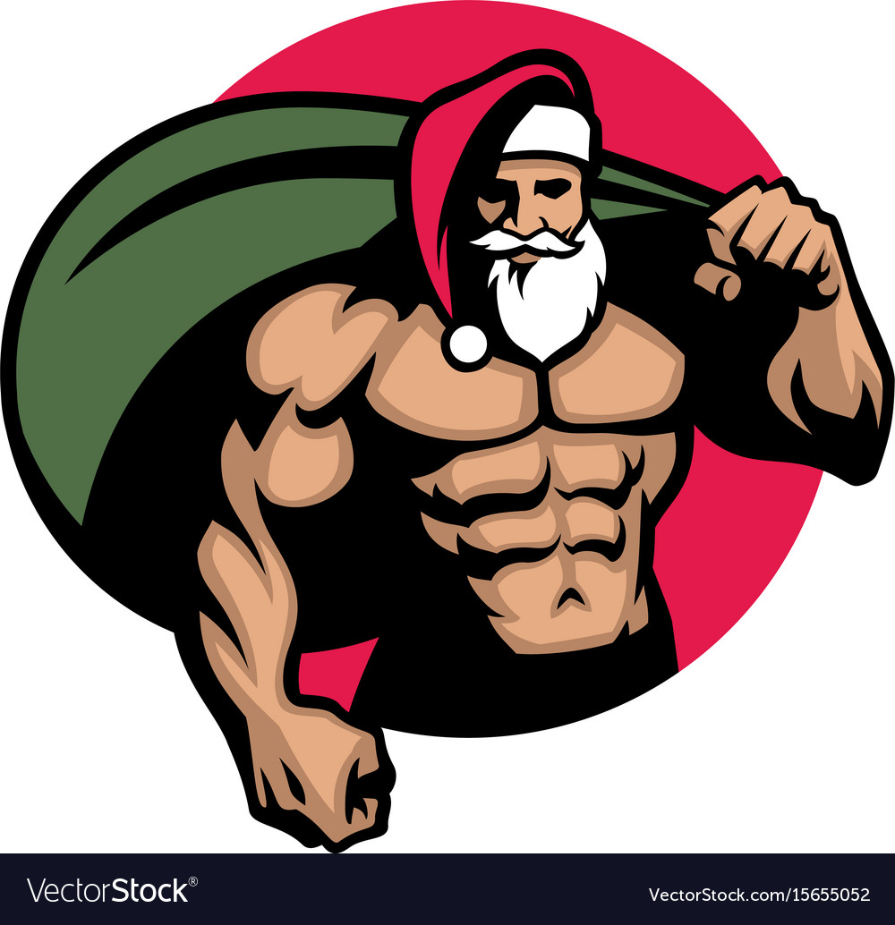 muscular santa claus bring a bag full of vector image