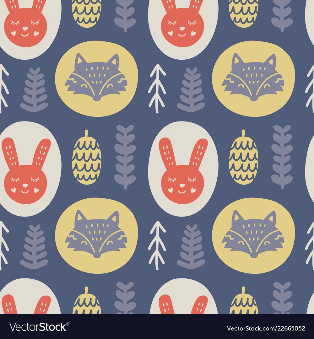 Scandinavian forest animals hand drawn pattern