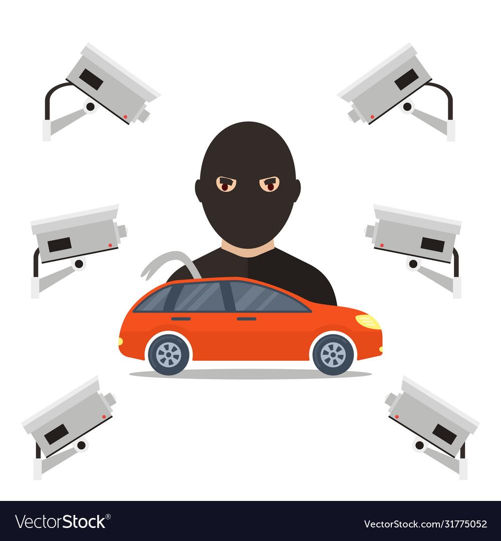 Security camera for car thief
