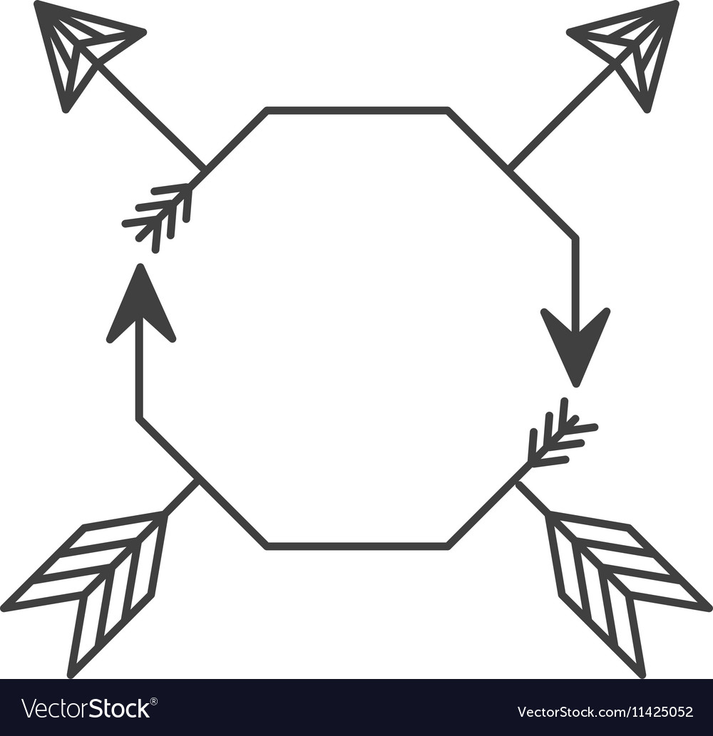 Silhouette with octagon shape and arrows