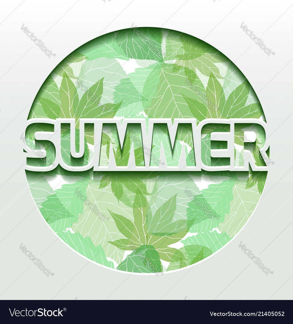 Summer 3d greeting card with green leaves