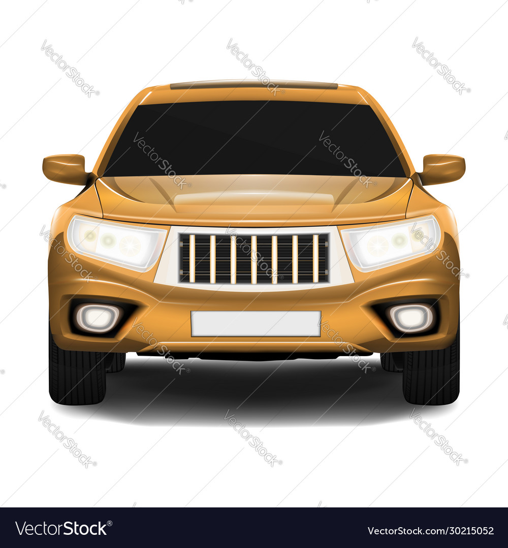 Suv car front view isolated on white realistic