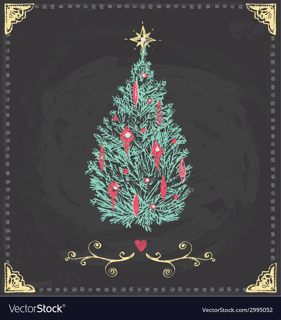 Vintage Christmas Tree Chalkboard Hand Drawn Set