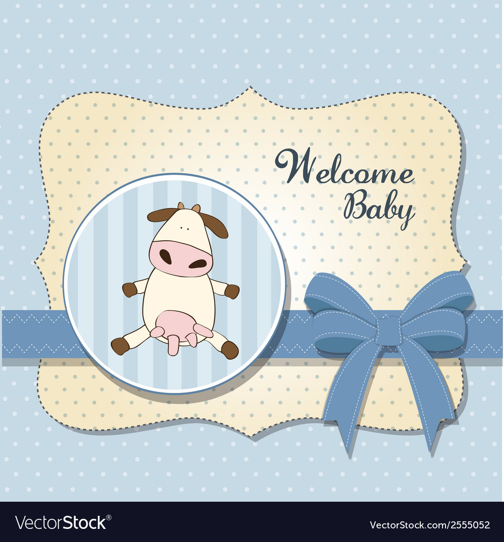 Welcome baby card with cow vector image