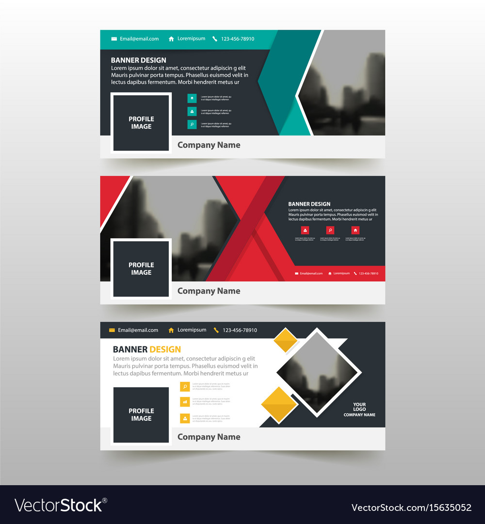 Yellow green red business banner template Vector Image