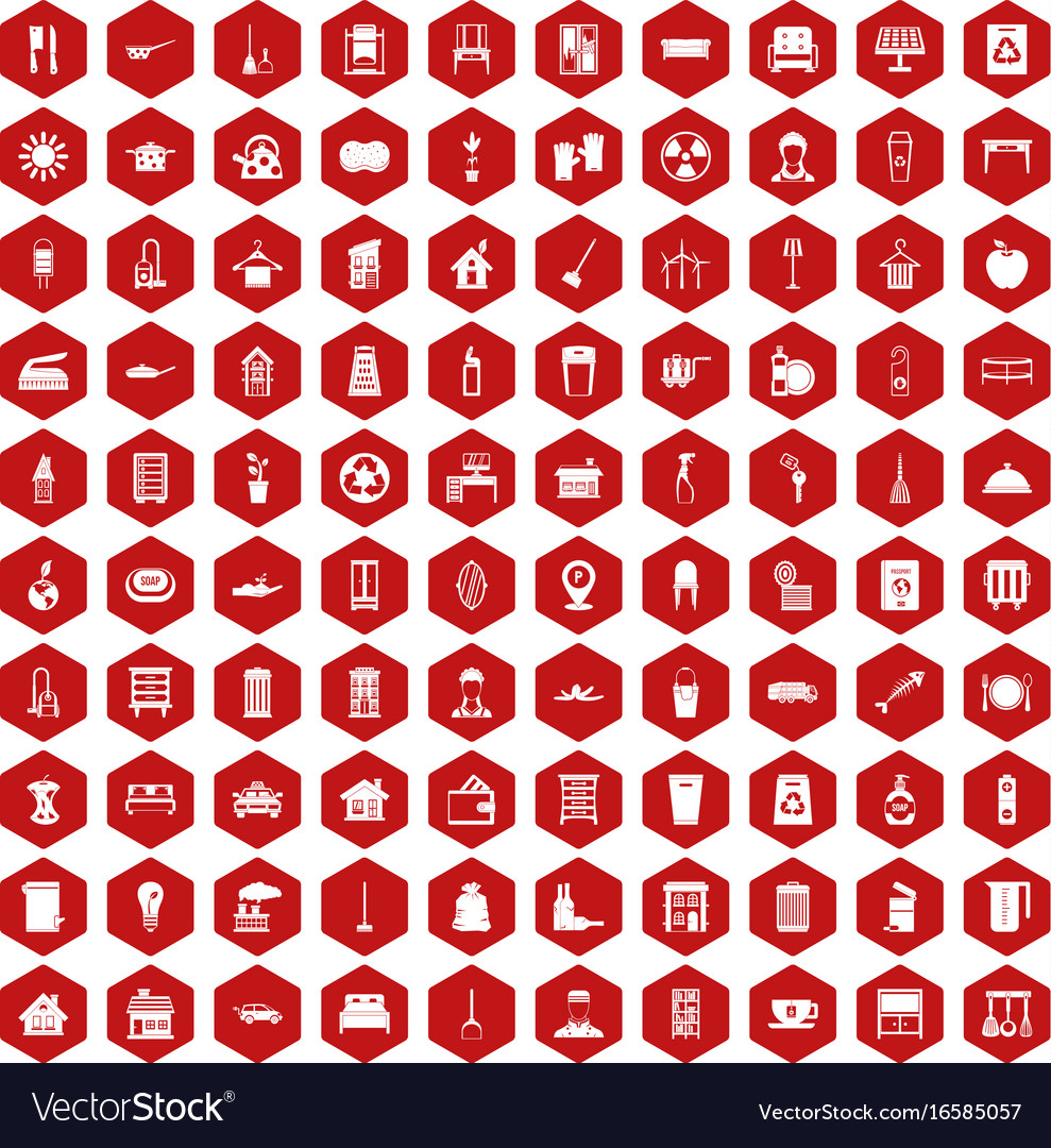 100 cleaning icons hexagon red