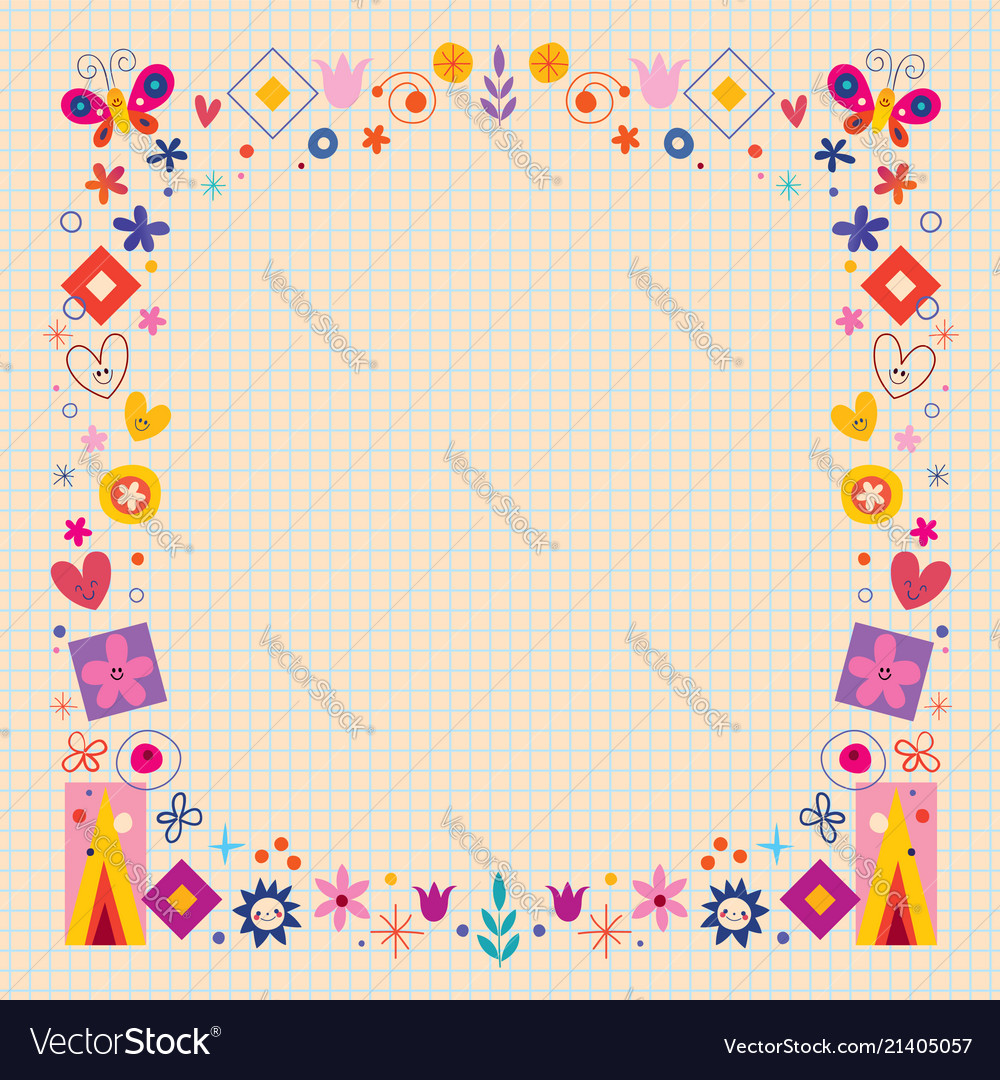 Abstract art flowers nature retro frame