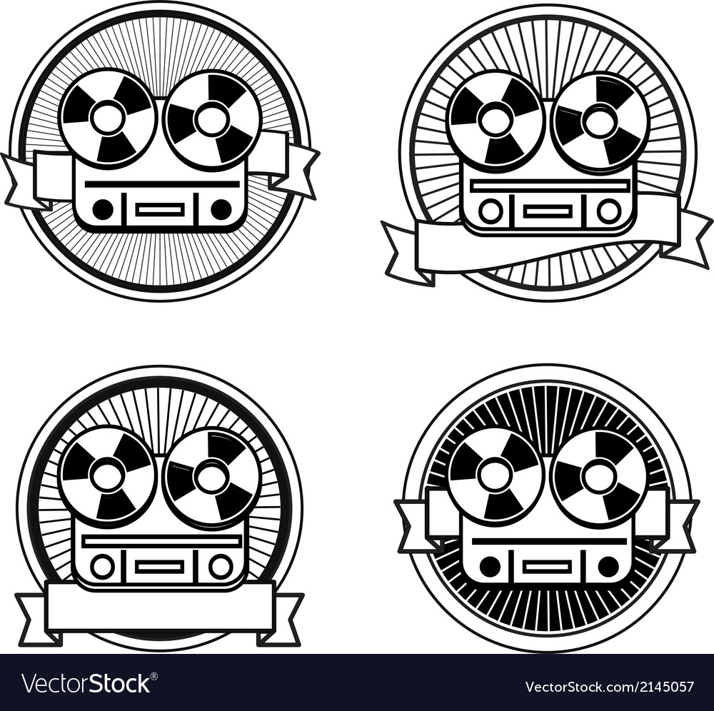 Black and white reel tape recorder stamp