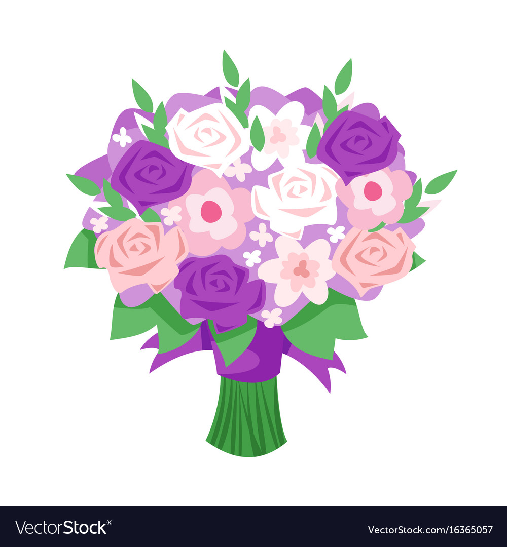 Cartoon Style Of Bridal Bouquet Royalty Free Vector Image
