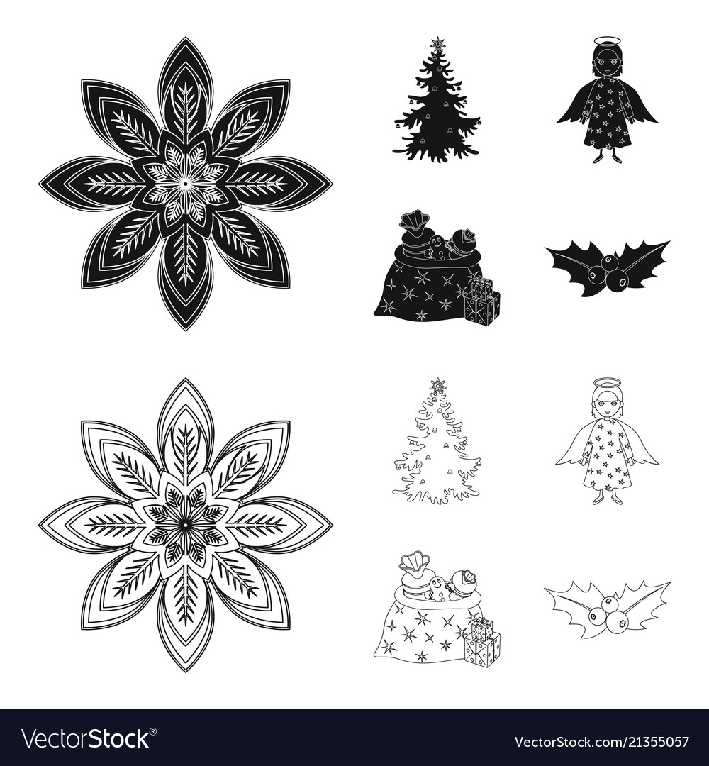 Christmas Tree Angel Gifts And Holly Black Vector Image On Vectorstock