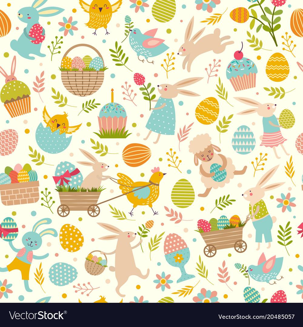 Cute easter seamless pattern