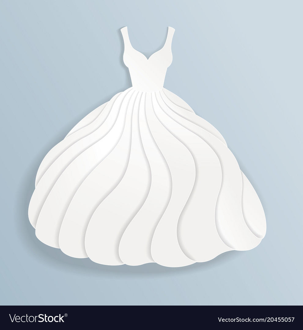 Elegant paper silhouette of white wedding dress Vector Image