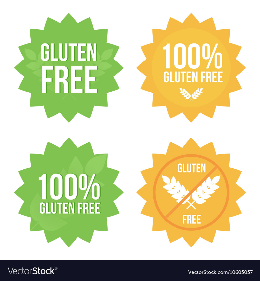 Gluten free tags stickers labels set collection