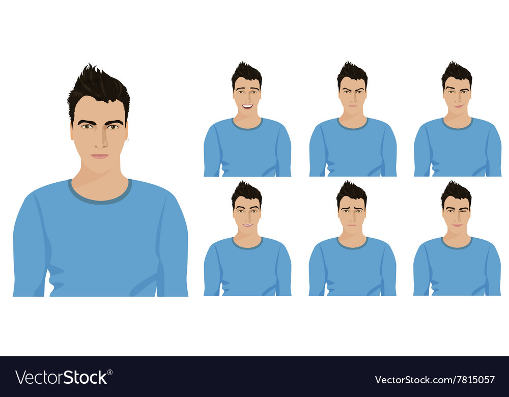 Handsome young guy with different facial emotions