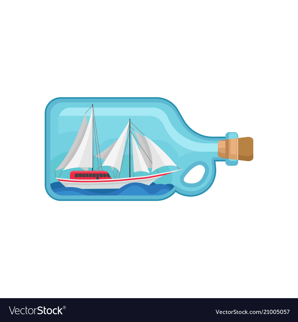 Miniature sea ship inside of glass bottle with