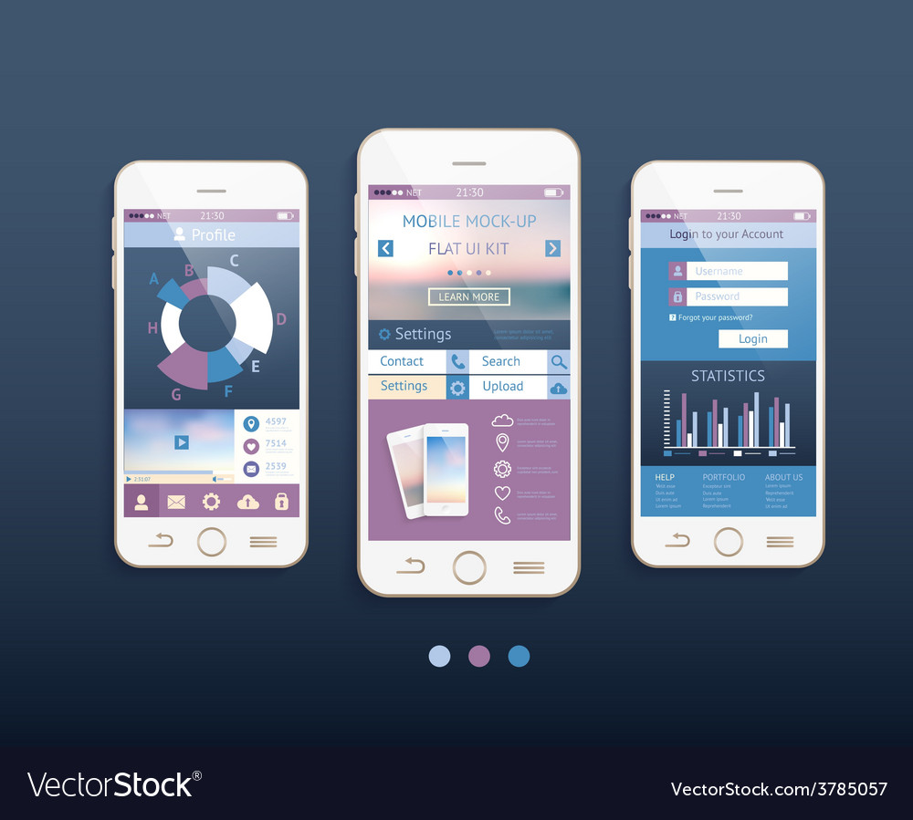 Mobile ui kit design with mobile phones