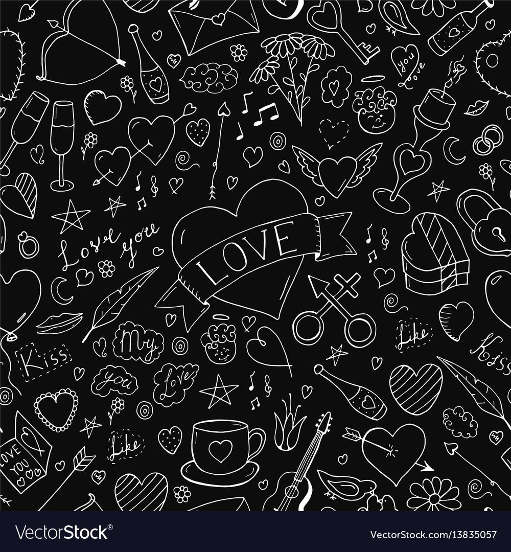 Seamless happy valentine day pattern hand drawn