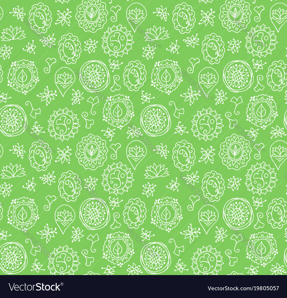Seamless pattern made of floral doodles