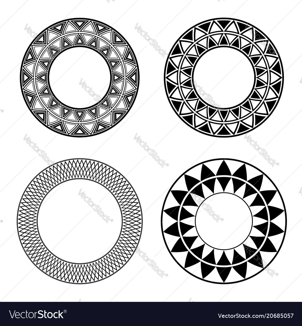 Set of black and white round frames with geometric vector image