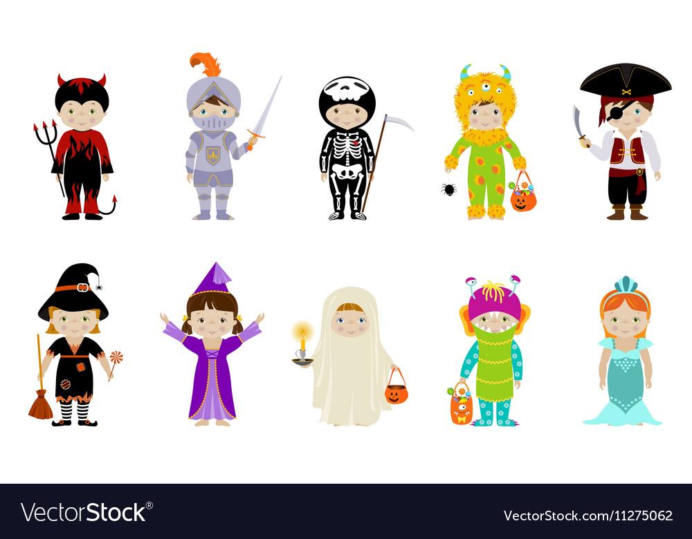 Big set of kids in halloween costumes