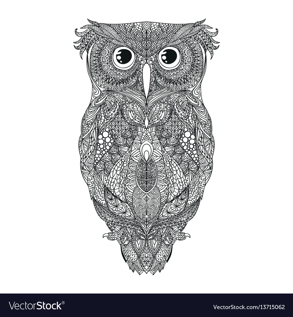 42aba1a47d6f7 Black hand drawn owl tattoo Royalty Free Vector Image