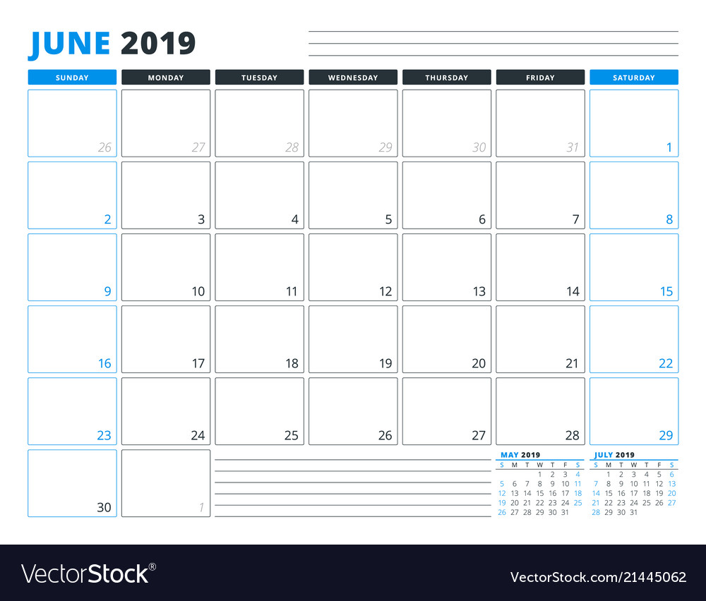 Calendar template for june 2019 business planner vector image cheaphphosting Choice Image
