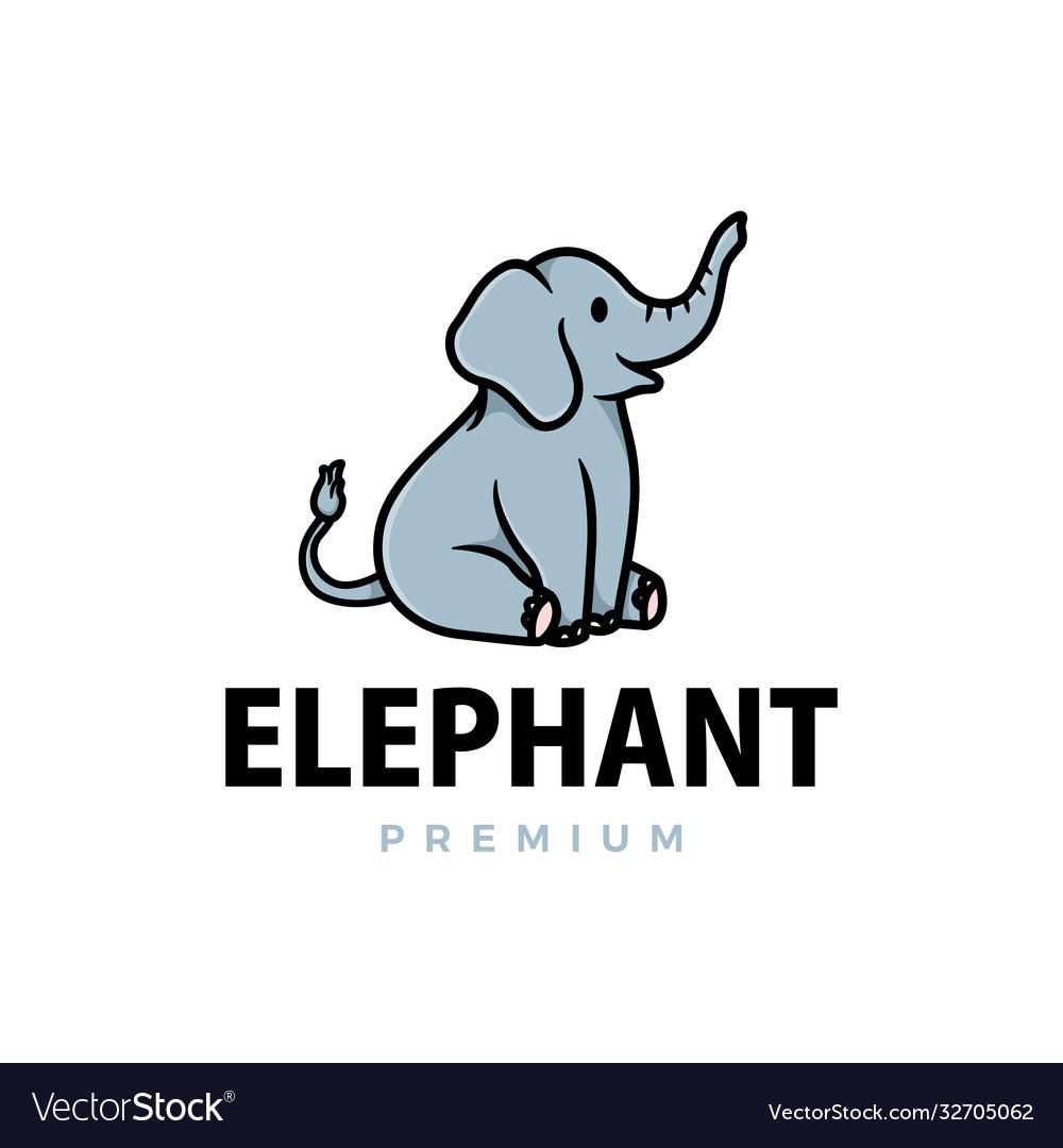Cute elephant cartoon logo icon