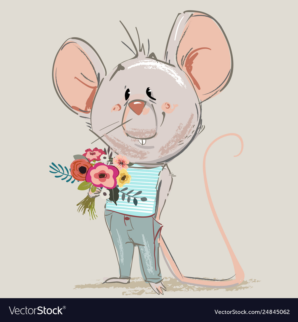 Cute little mouse with floral wreath