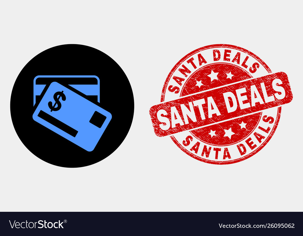 Dollar bank cards icon and distress santa