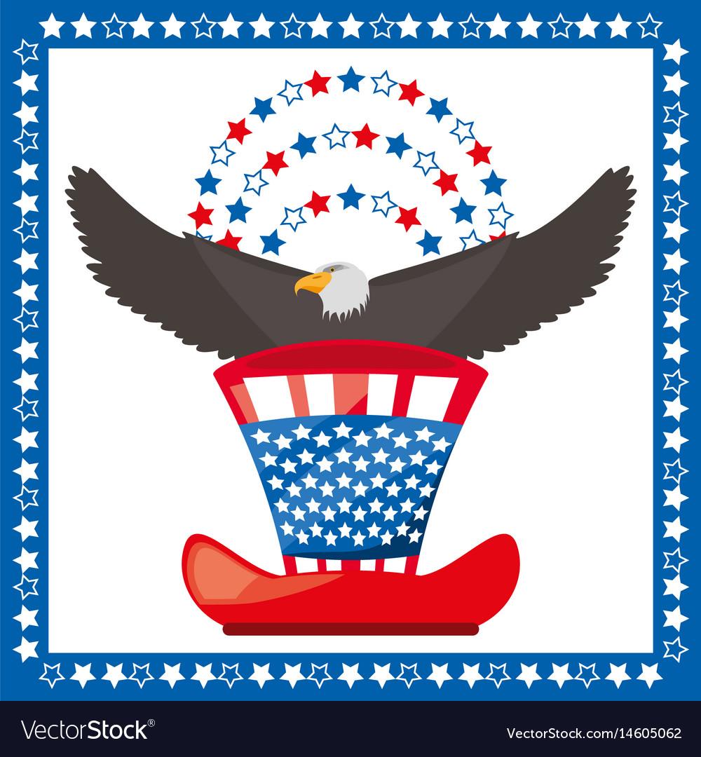 Eagle And American Hat Patriotic Symbol Royalty Free Vector