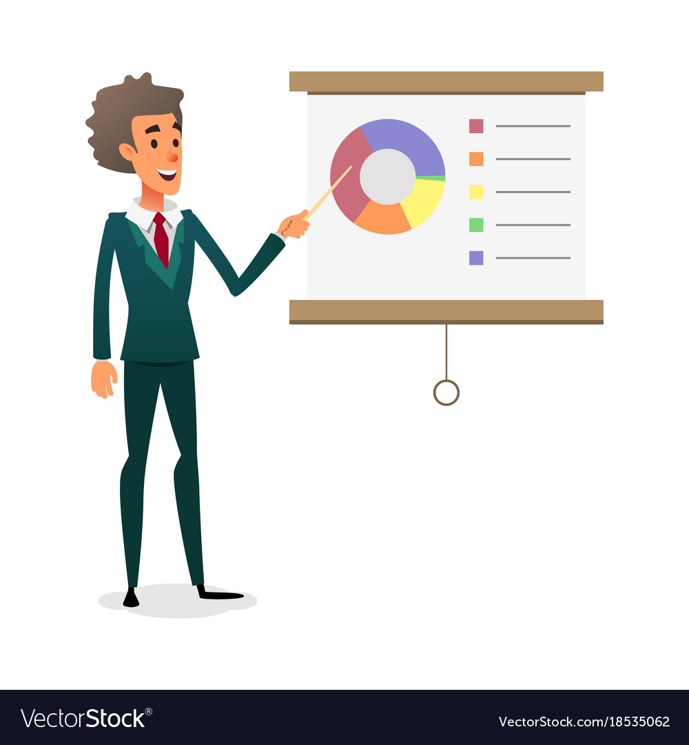 Funny cartoon manager presenting whiteboard about