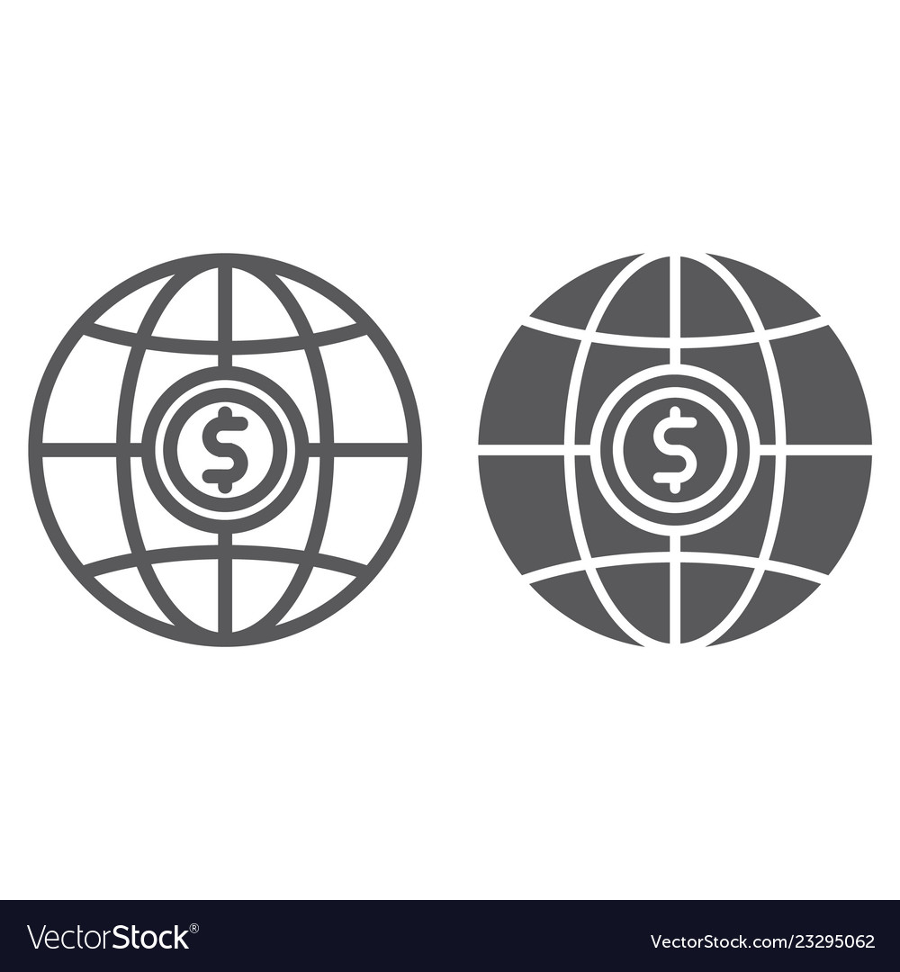 Global line and glyph icon planet and world