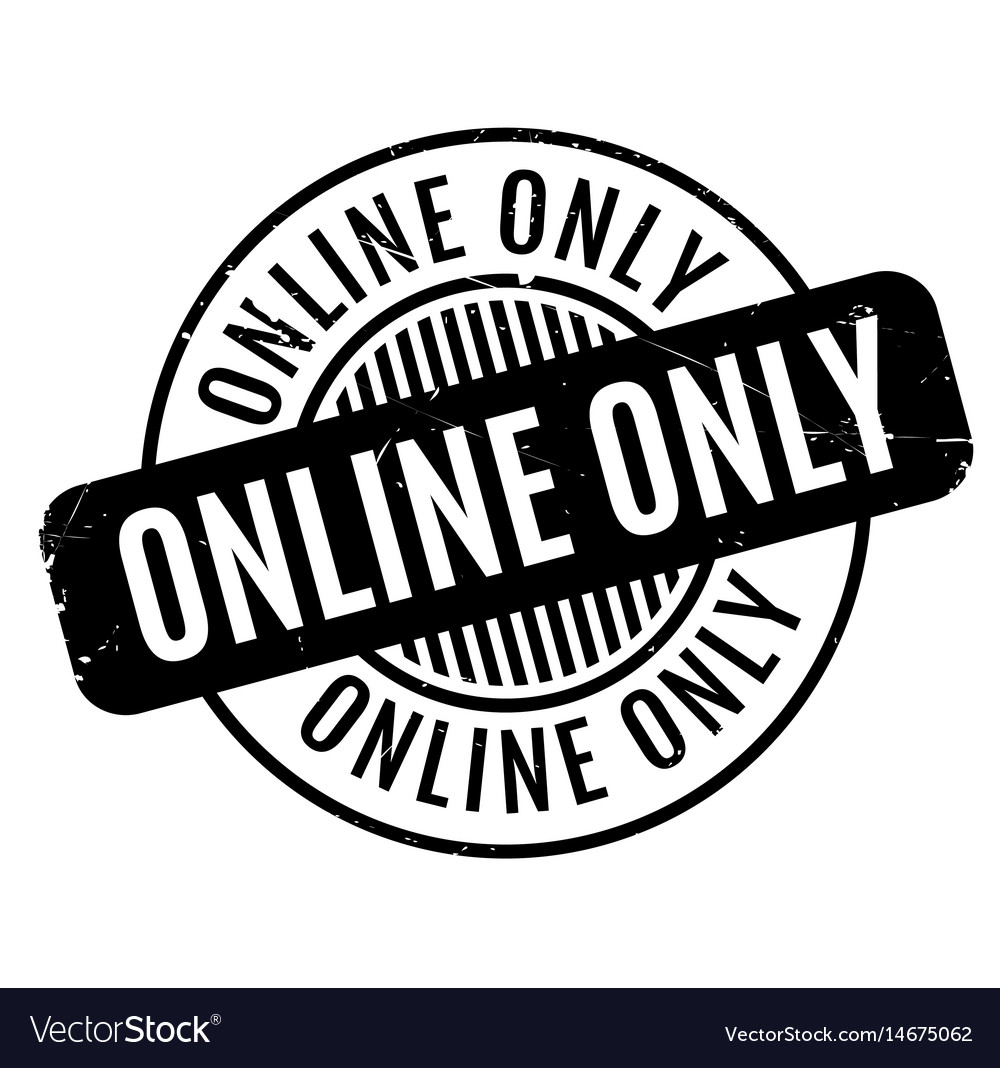 Online Only Rubber Stamp Vector Image