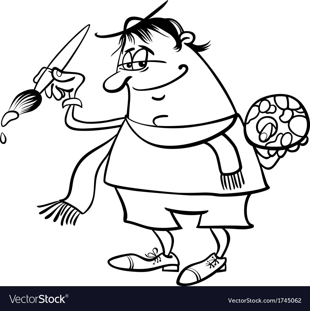 Painter Artist Cartoon Coloring Page Royalty Free Vector