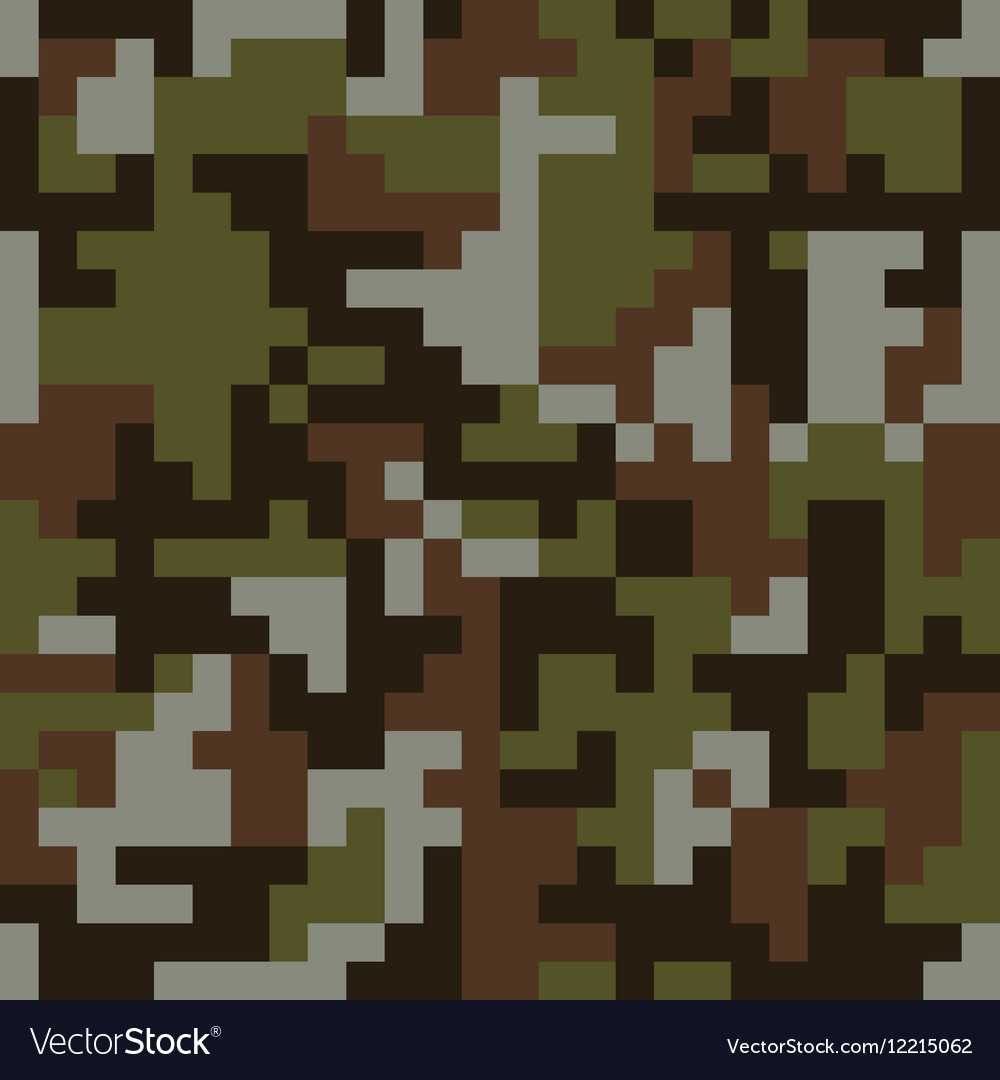 Pixel camo seamless pattern Brown forest
