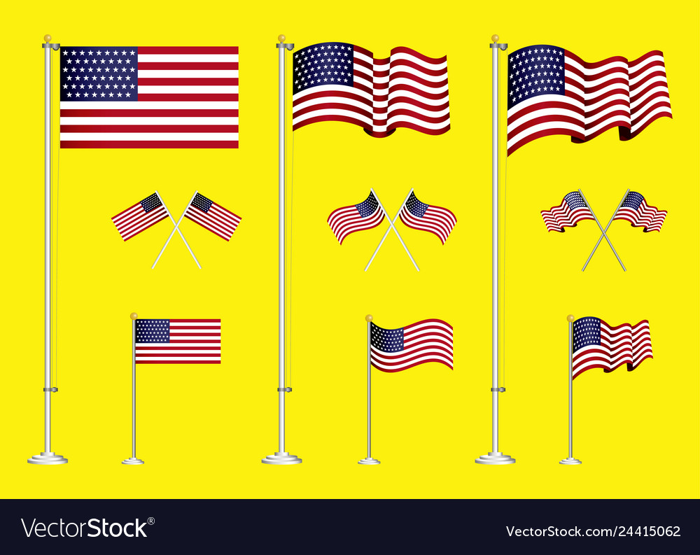 Set american flag clip art easy to modify