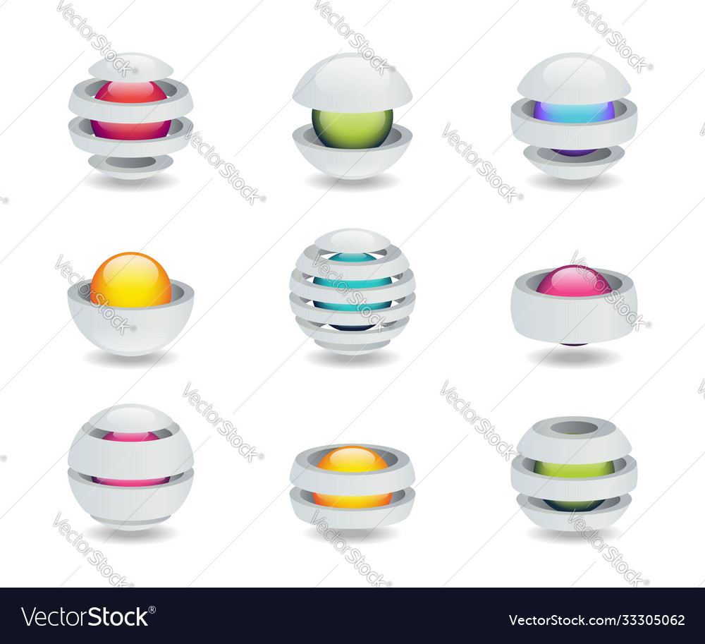 Set creative logo in form a ball with a
