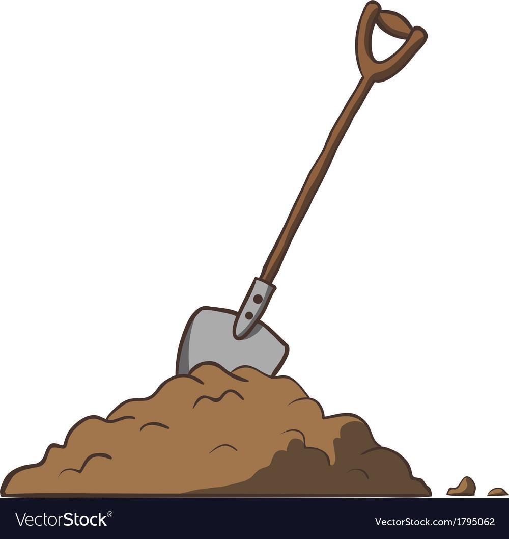 Shovel in dirt cartoon freehand vector image